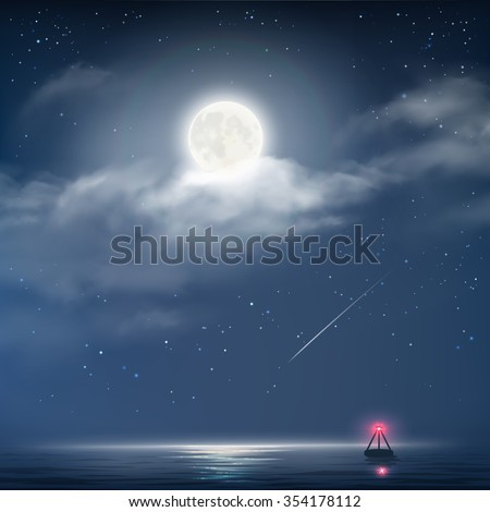 Vector illustration of night cloudy sky with stars, moon and sea with beacon - stock vector