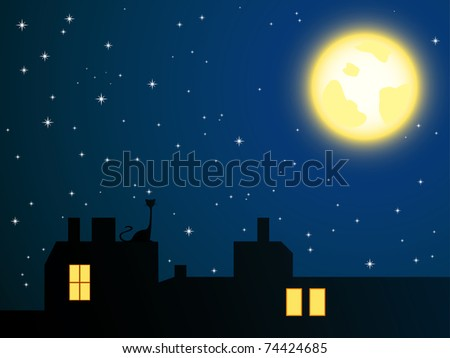 Vector illustration of night roofs and lonely cat looking at full moon - stock vector