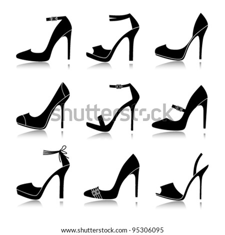 Vector illustration of nine different models of high-heeled shoes. Each one is grouped and can be used separately. - stock vector