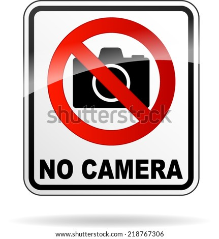 Vector illustration of no camera sign on white background