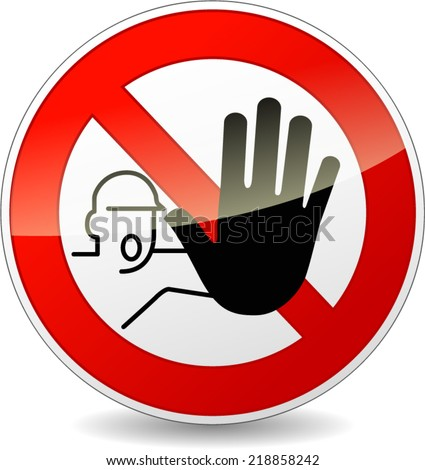 Vector illustration of no entry red and white sign - stock vector