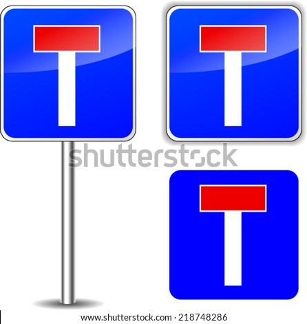 Vector illustration of no exit road sign on white background - stock vector