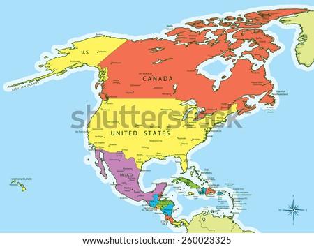 north america map color