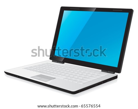 vector illustration of notebook laptop computer with blue desktop - stock vector