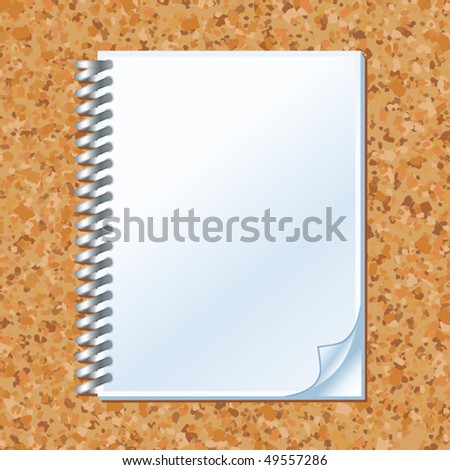 vector illustration of notebook with bended corner - stock vector