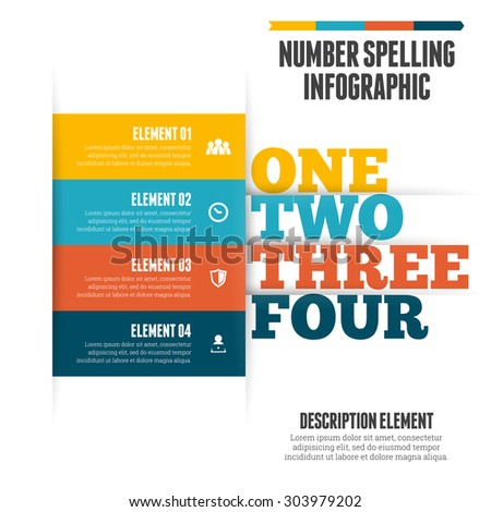 Vector illustration of number spelling infographic design element. - stock vector