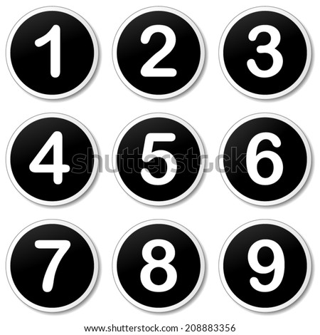 Vector illustration of numbering icons on white background - stock vector