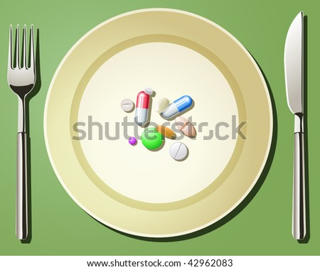 Vector illustration of nutritional care represented by a few pills serving on the plate - stock vector