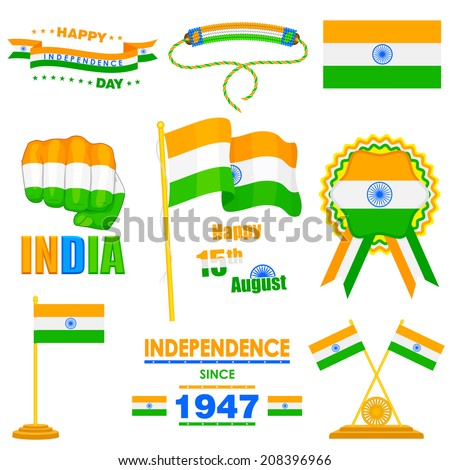 vector illustration of object on India Independence day theme - stock vector