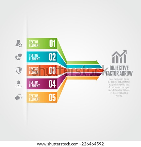 Vector illustration of objective factor arrow infographic design elements. - stock vector