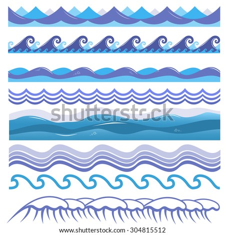 Vector illustration of ocean and sea waves, surfs and splashes. Seamless isolated design elements on white background. Blue marine patterns. - stock vector