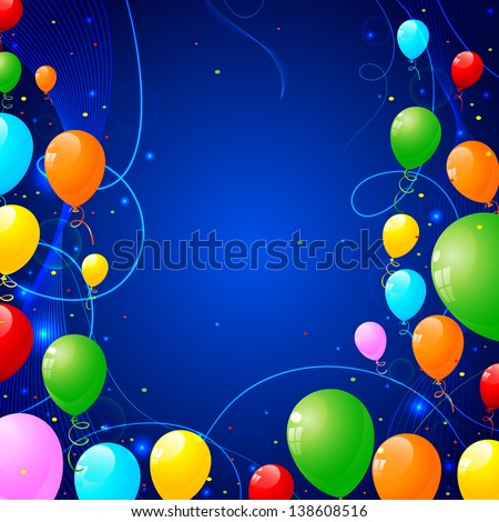vector illustration of of bunch of colorful balloon - stock vector