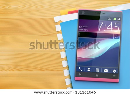 Vector illustration of office style life with glossy modern cellphone and papers in different colors