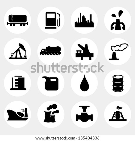 Vector illustration of oil and gas industry icons. - stock vector