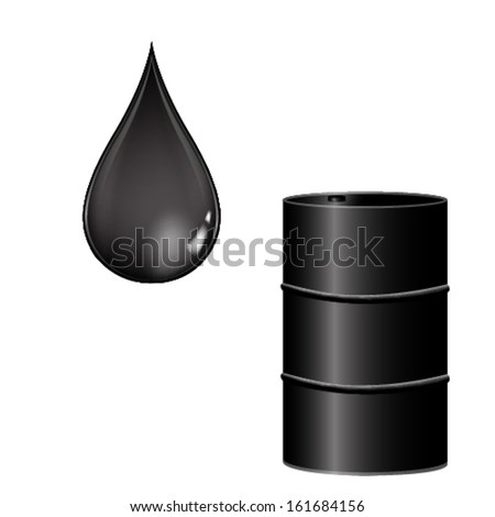 Vector illustration of oil barrel and oil drop.