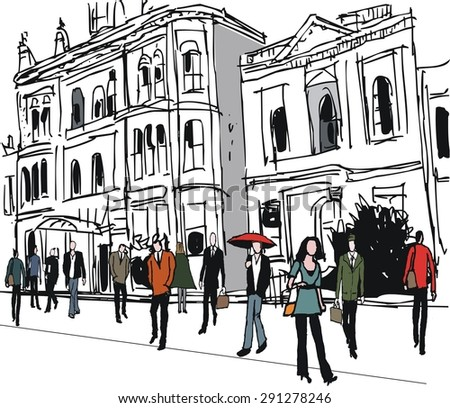 Vector illustration of old buildings and pedestrians. - stock vector