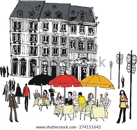Vector illustration of old buildings and people dining outdoors, Mainz, Germany - stock vector