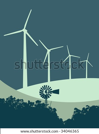 """Vector illustration of old-fashioned windmill and trees contrasted with  a row of modern wind turbines on a """"wind farm"""". - stock vector"""