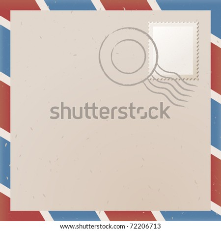 vector illustration of old letter with stamp - stock vector