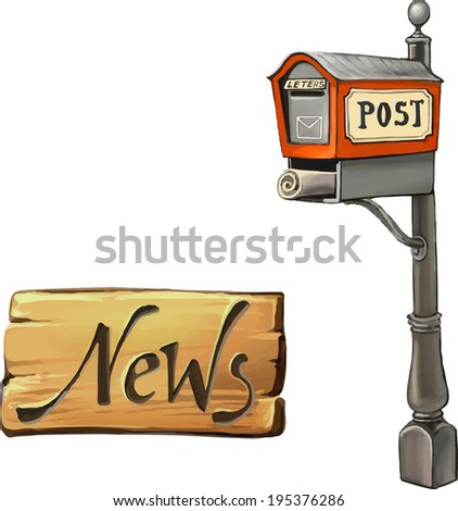 Vector illustration of Old Mailbox. United States. News Wooden sign, Isolated on white background