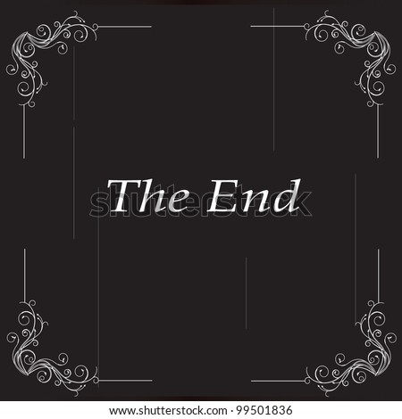 vector illustration of old movie ending - stock vector