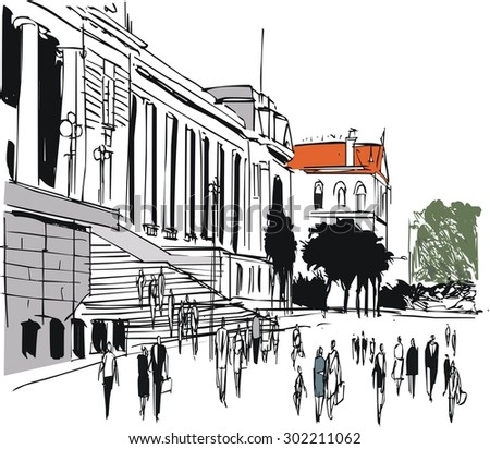 Vector illustration of old Parliament buildings and pedestrians, Wellington New Zealand - stock vector