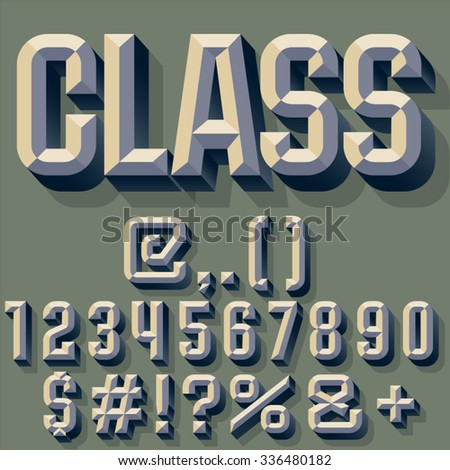 Vector illustration of old school beveled alphabet. Simple colored version. Numbers and Symbols - stock vector