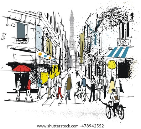 Vector illustration of old street and buildings in Paris France with pedestrians.