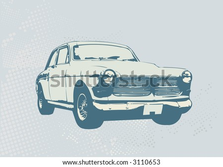 Vector Illustration of old vintage custom collector's car - stock vector