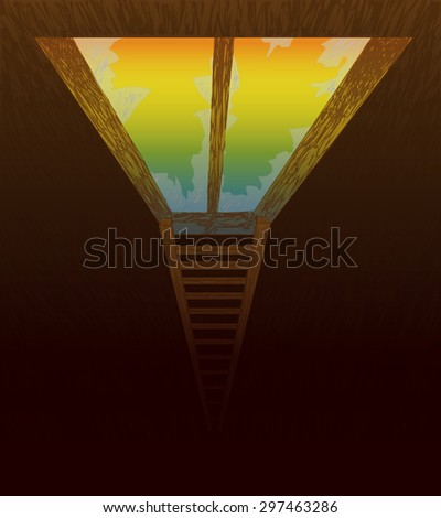 Vector illustration of old window and a ladder leading to freedom and escape - stock vector