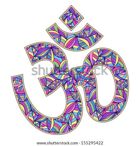 Vector illustration of Om symbol  on white background - stock vector