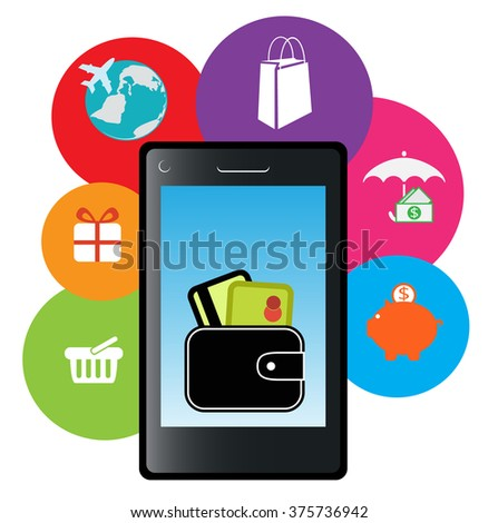 Vector illustration  of on-line payment , purchasing and  e-banking - stock vector