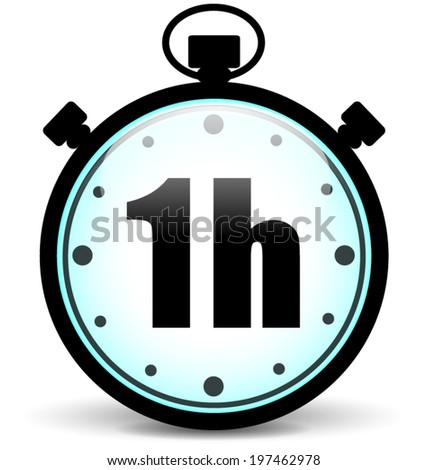 Vector Illustration One Hour Stopwatch Icon Stock Vector ...