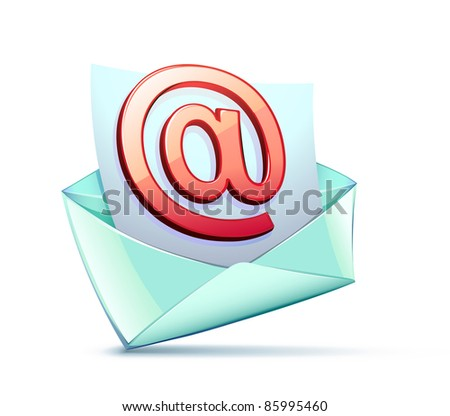 Vector illustration of open envelope containing e-mail symbol