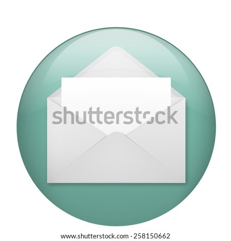 Vector illustration of open envelope with blank white sheet - stock vector
