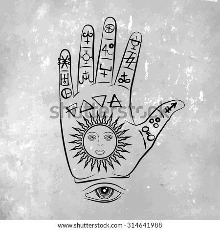 vector illustration open hand sun tattoo stock vector 314641988 shutterstock. Black Bedroom Furniture Sets. Home Design Ideas