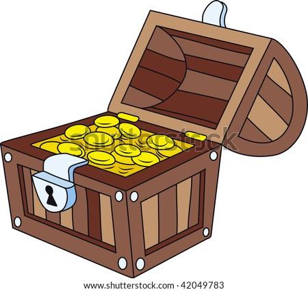 Vector illustration of open wooden treasure chest - stock vector