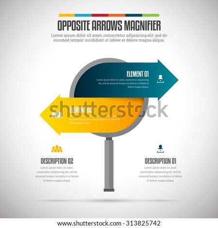 Vector illustration of opposite arrows magnifier infographic design element. - stock vector