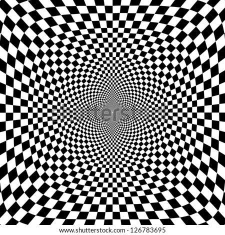 Vector illustration of optical illusion black and white chess background
