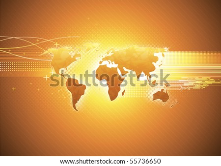 Vector illustration of orange abstract hi-tech Background with Glossy world map - stock vector