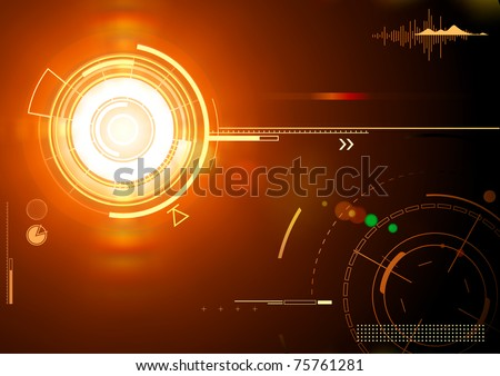 Vector illustration of orange abstract techno background - stock vector