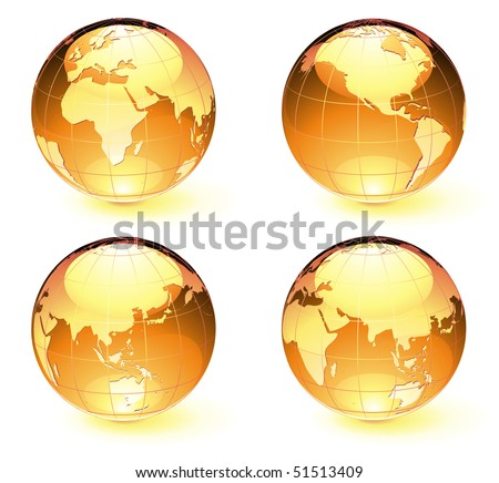Vector illustration of orange Glossy Earth Map Globes different angles - stock vector