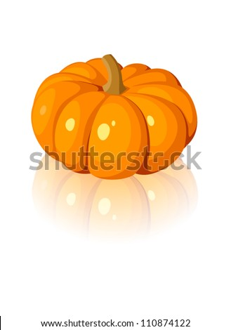 Vector illustration of orange pumpkin isolated on a white background. - stock vector