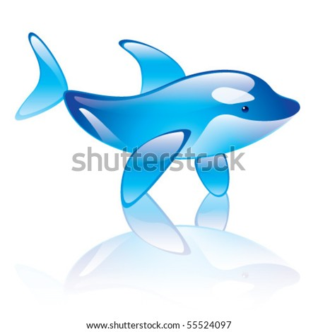 Vector illustration of orca whale symbol - stock vector