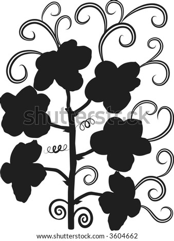 Vector illustration of Orchid design elements with leaves and swirls, illustration contains no gradients.
