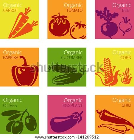 Vector illustration of Organic vegetables labels - stock vector