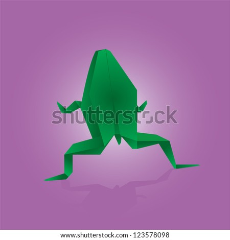 Vector illustration of origami frog