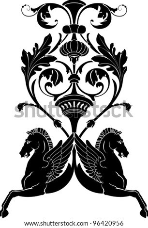 Vector illustration of ornamental composition with horse Pegasus. Stencil for decor. - stock vector