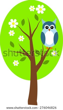 Vector illustration of owl sitting on spring tree - stock vector