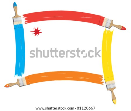 Vector illustration of paint and brushes - stock vector